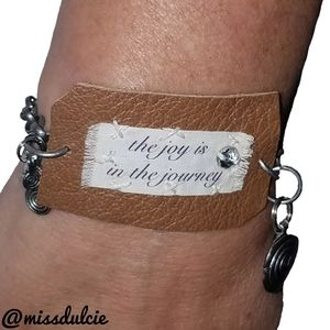 Leather Bracelet Cuff The Joy Is In The Journey